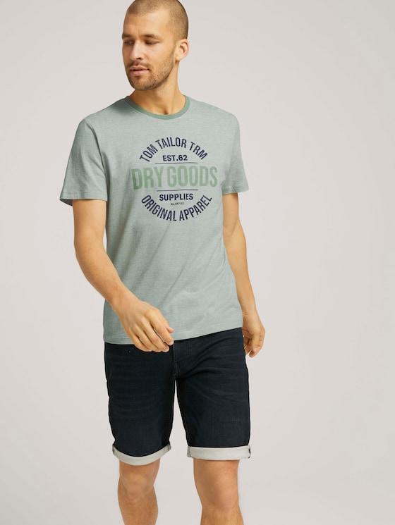 Gestreiftes T-Shirt mit Print - Männer - pistachio white stripe - 5 - TOM TAILOR