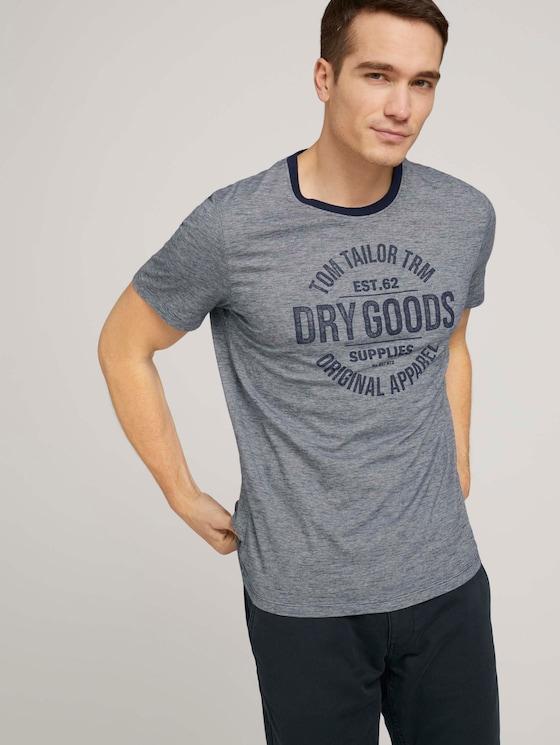 Gestreiftes T-Shirt mit Print - Männer - offwhite navy stripe - 5 - TOM TAILOR