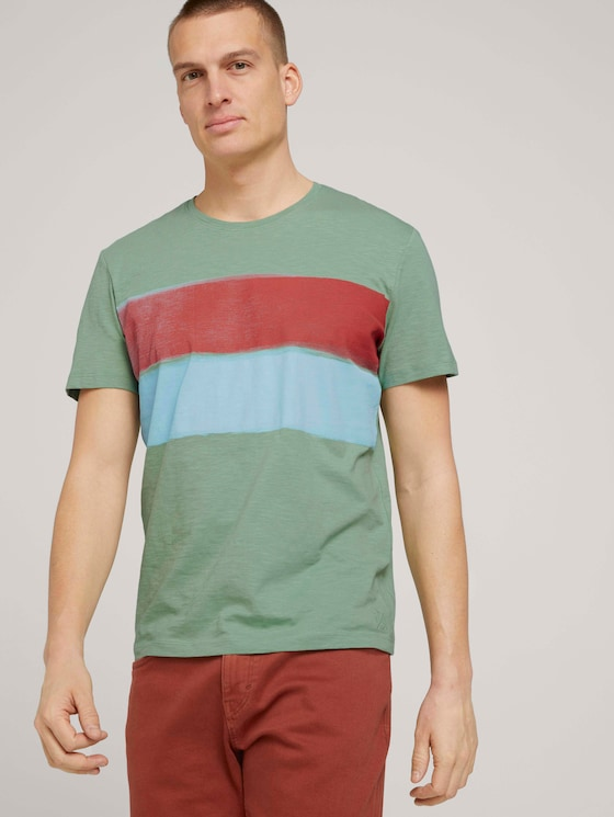 T-shirt with a coloured stripe made of organic cotton - Men - light mint green - 5 - TOM TAILOR
