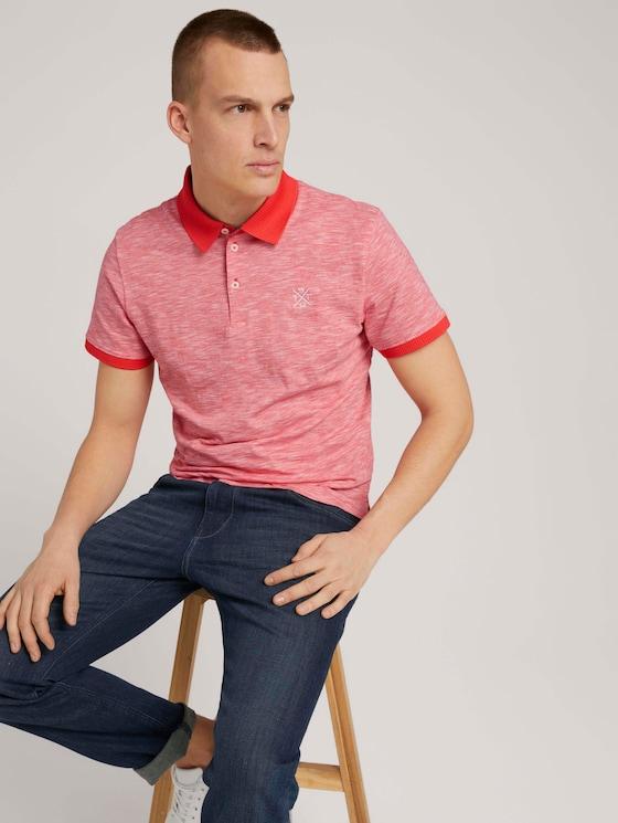 Poloshirt mit Melange-Optik - Männer - plain red white stripe - 5 - TOM TAILOR