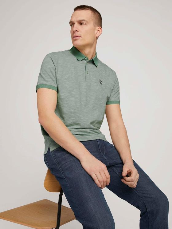 Fein gestreiftes Poloshirt - Männer - pistachio white stripe - 5 - TOM TAILOR