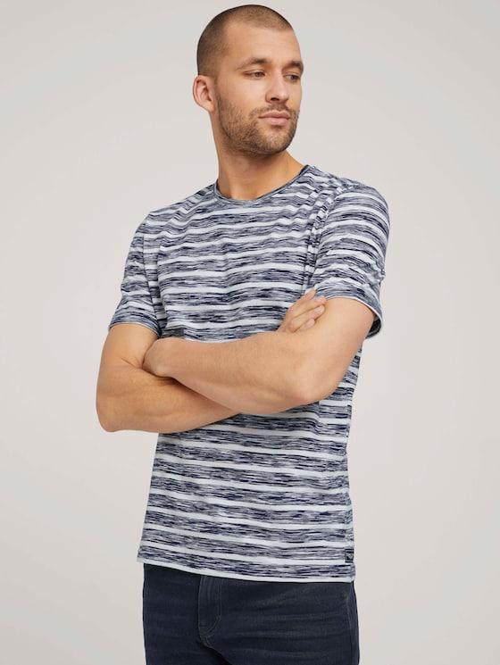 gestreiftes T-Shirt - Männer - sailor blue spacedye stripe - 5 - TOM TAILOR