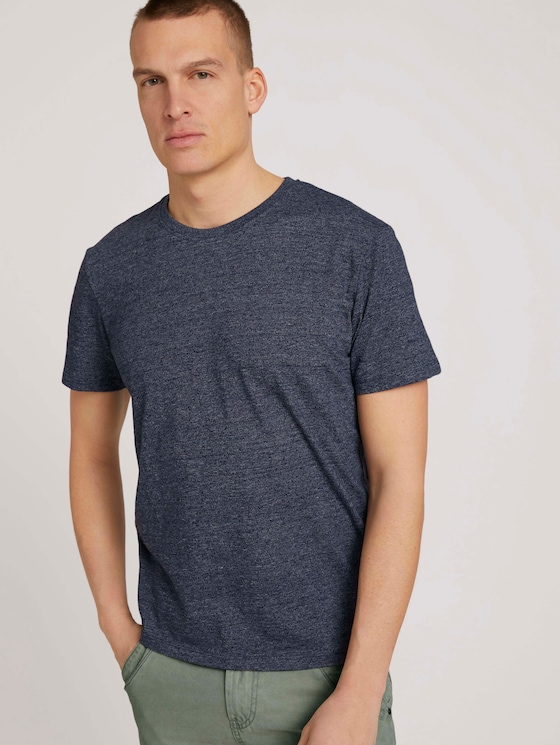 T-Shirt in Melange-Optik - Männer - sailor blue grindle melange - 5 - TOM TAILOR