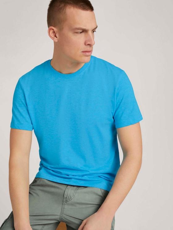T-Shirt in Melange-Optik - Männer - aqua blue grindle melange - 5 - TOM TAILOR