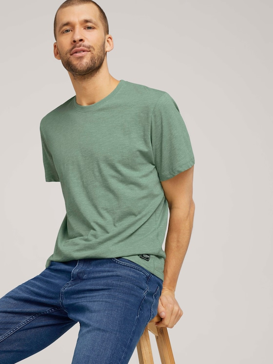 T-Shirt in Melange-Optik - Männer - mint green grindle melange - 5 - TOM TAILOR
