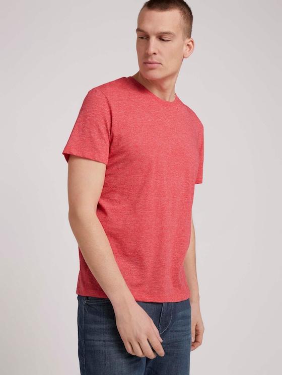T-Shirt in Melange-Optik - Männer - plain red grindle melange - 5 - TOM TAILOR