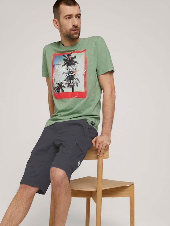 T-Shirt mit Fotoprint - Männer - mint green grindle melange - 5 - TOM TAILOR