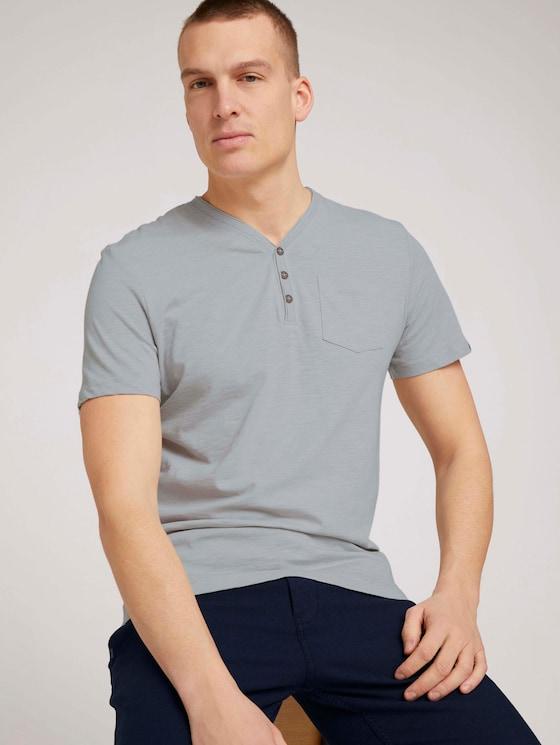 Henley T-Shirt in Melange Optik - Männer - white melange - 5 - TOM TAILOR