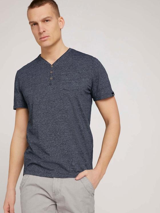 Henley T-Shirt in Melange Optik - Männer - sailor blue grindle melange - 5 - TOM TAILOR