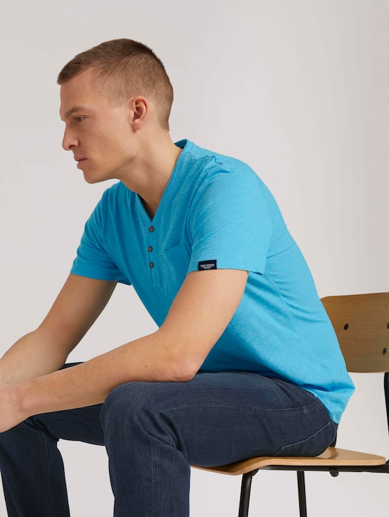 Henley T-Shirt in Melange Optik - Männer - aqua blue grindle melange - 5 - TOM TAILOR