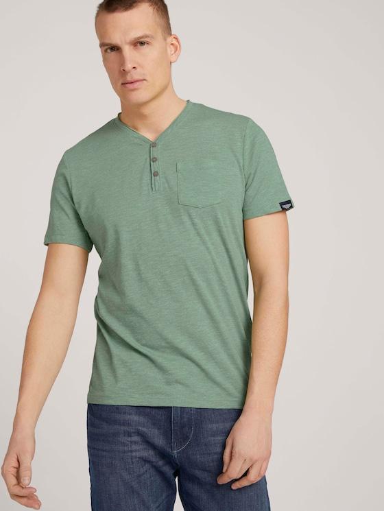 Henley T-Shirt in Melange Optik - Männer - mint green grindle melange - 5 - TOM TAILOR