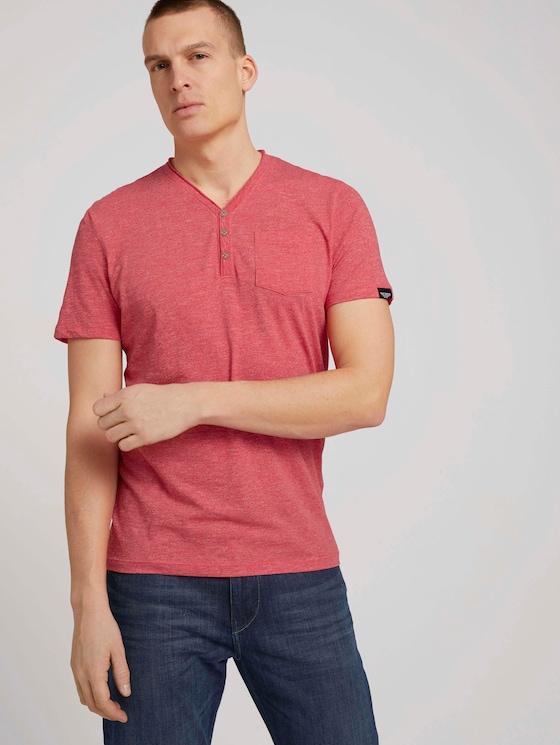 Henley T-Shirt in Melange Optik - Männer - plain red grindle melange - 5 - TOM TAILOR