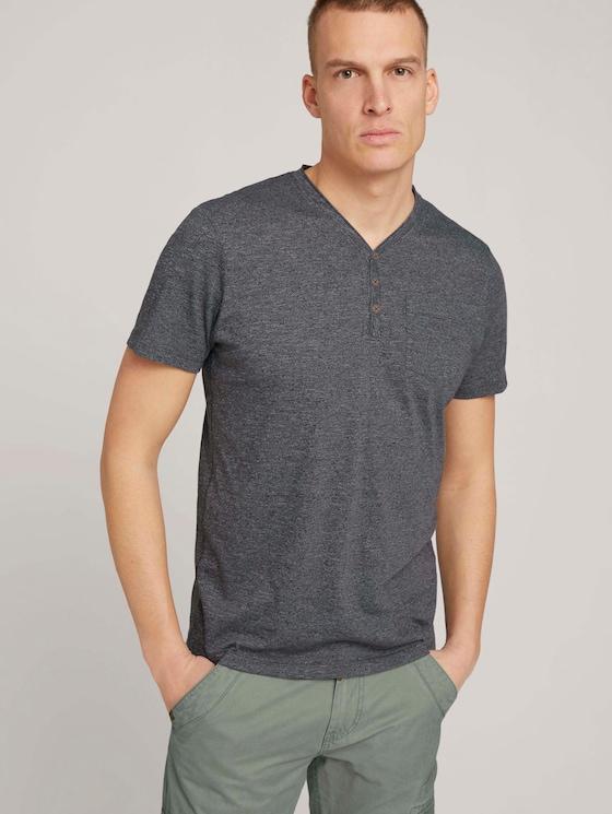 Henley T-Shirt in Melange Optik - Männer - dark grey grindle melange - 5 - TOM TAILOR