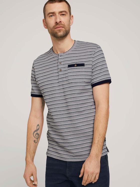 gestreiftes T-Shirt - Männer - sailor blue waffle stripe - 5 - TOM TAILOR