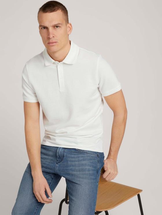 Strukturiertes Poloshirt - Männer - Off White - 5 - TOM TAILOR