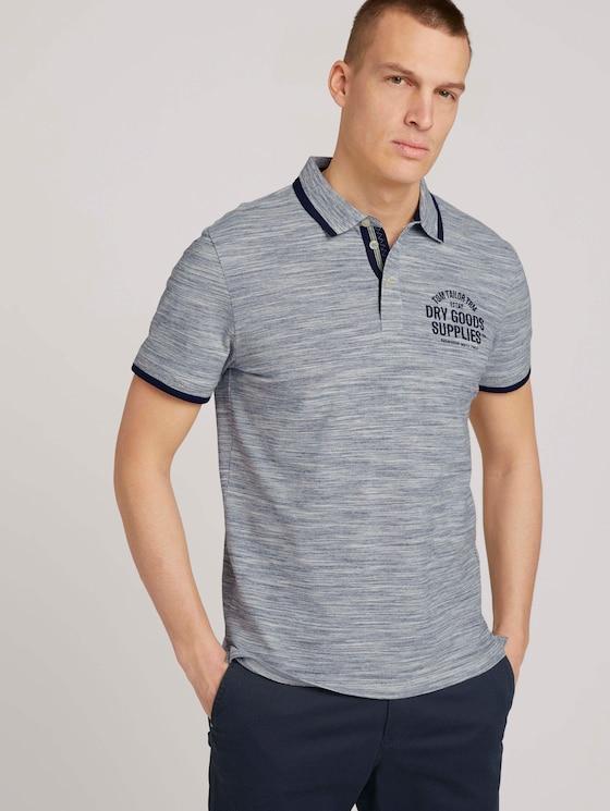 Meliertes Poloshirt mit Stickerei - Männer - offwhite streaky grindle - 5 - TOM TAILOR