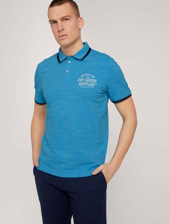 Meliertes Poloshirt mit Stickerei - Männer - aqua blue streaky grindle - 5 - TOM TAILOR
