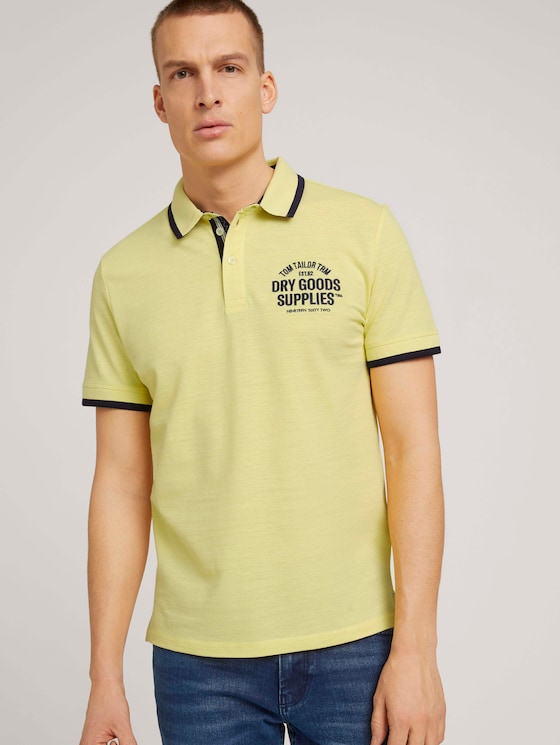 Meliertes Poloshirt mit Stickerei - Männer - pale yellow streaky grindle - 5 - TOM TAILOR