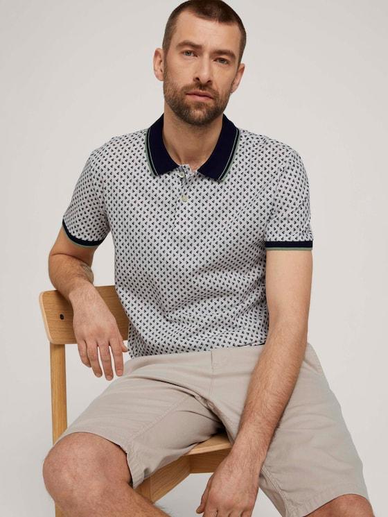 Poloshirt mit Bio-Baumwolle - Männer - offwhite palmtree design - 5 - TOM TAILOR