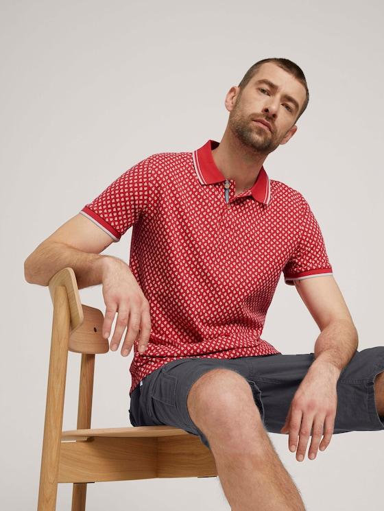 Poloshirt mit Bio-Baumwolle - Männer - plain red palmtree design - 5 - TOM TAILOR