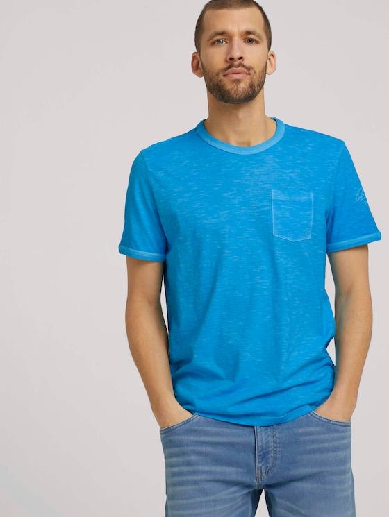 T-Shirt im Used-Look - Männer - aquarius turquoise - 5 - TOM TAILOR