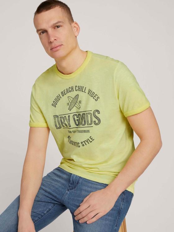 T-Shirt mit Print - Männer - pale straw yellow - 5 - TOM TAILOR