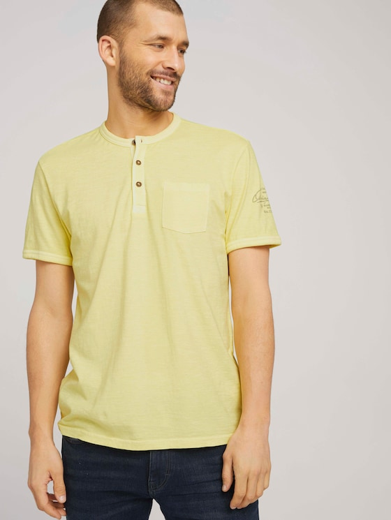 T-Shirt im Used-Look - Männer - pale straw yellow - 5 - TOM TAILOR