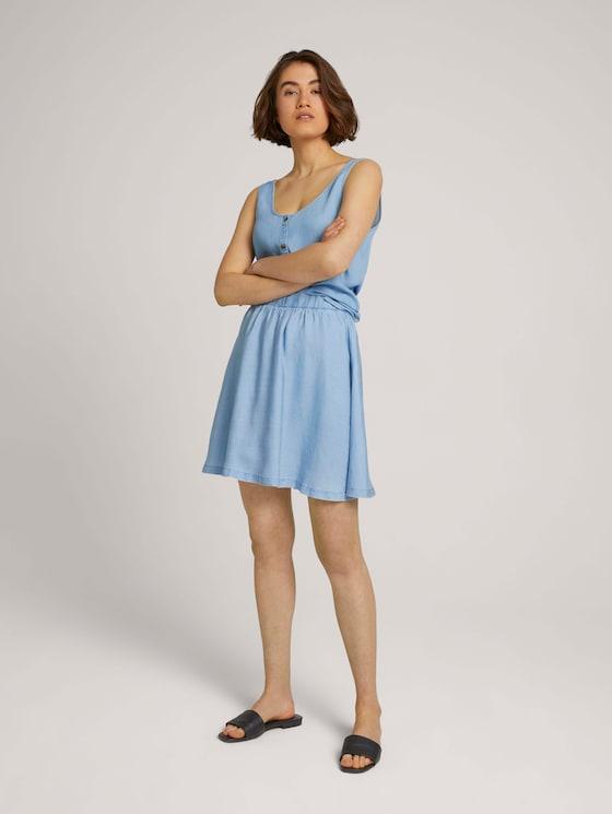Vloeiende mini rok met TENCEL ™ lyocell - Vrouwen - light stone bright blue denim - 3 - TOM TAILOR Denim