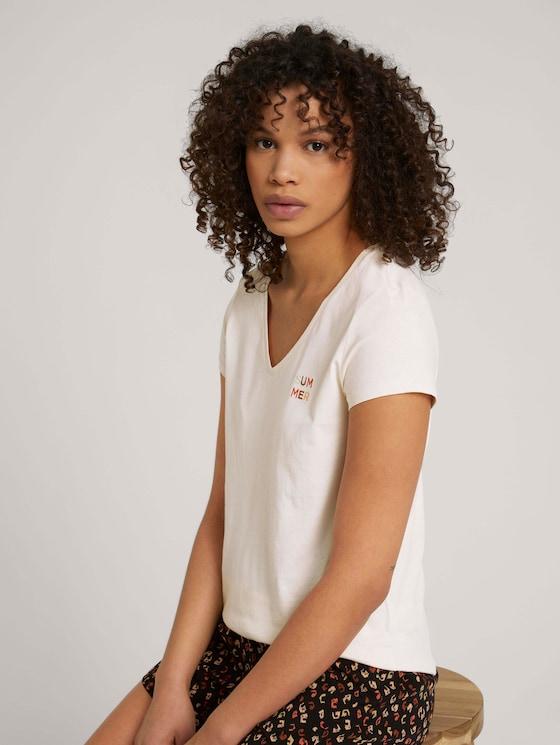 Besticktes T-Shirt mit Bio-Baumwolle - Frauen - soft creme beige - 5 - TOM TAILOR Denim