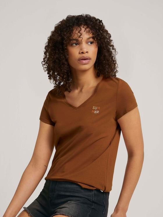 Besticktes T-Shirt mit Bio-Baumwolle - Frauen - amber brown - 5 - TOM TAILOR Denim