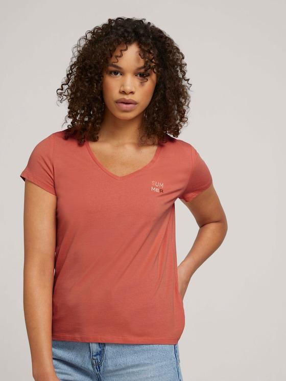 Besticktes T-Shirt mit Bio-Baumwolle - Frauen - sundown coral - 5 - TOM TAILOR Denim