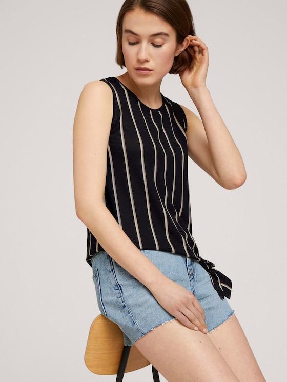 Top met knoopdetails - Vrouwen - black beige vertical stripe - 5 - TOM TAILOR Denim