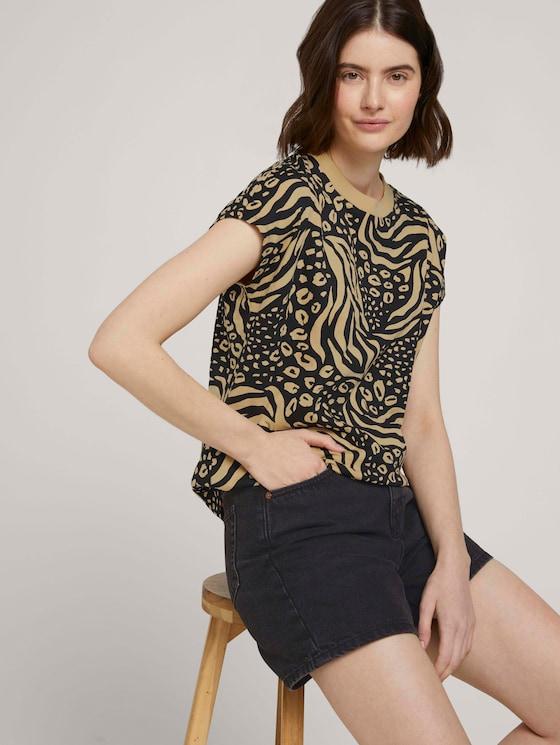 T-Shirt mit Stehkragen - Frauen - black animal print - 5 - TOM TAILOR Denim