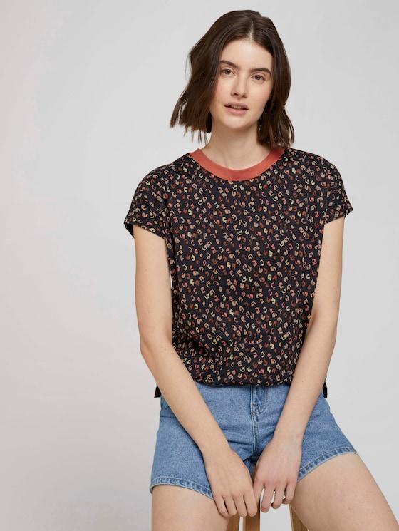 T-Shirt mit Stehkragen - Frauen - colourful leo print - 5 - TOM TAILOR Denim