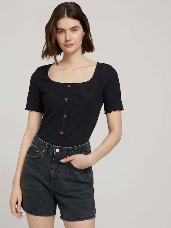 Rib T-shirt met knoopsluiting - Vrouwen - deep black - 5 - TOM TAILOR Denim