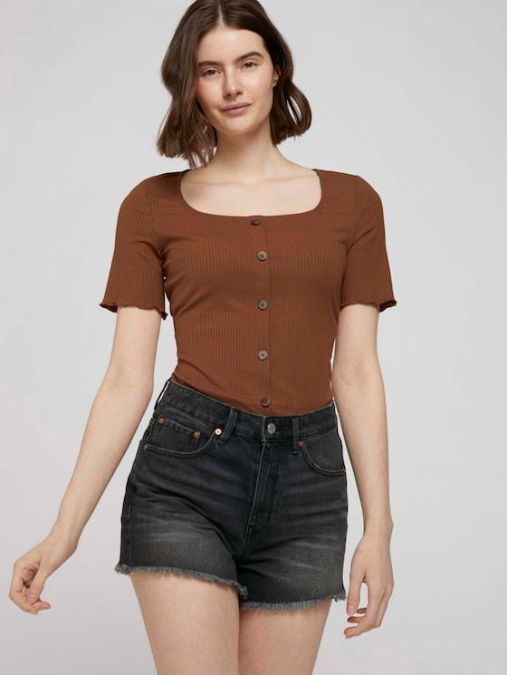 Ripp T-Shirt mit Knopfleiste - Frauen - amber brown - 5 - TOM TAILOR Denim