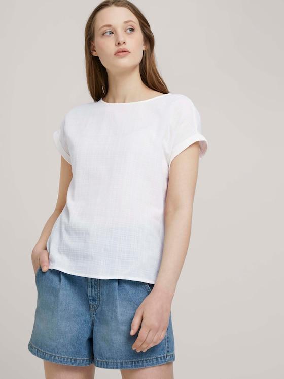 T-shirt with cuffs - Women - Gardenia White - 5 - TOM TAILOR Denim