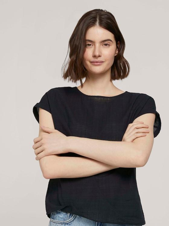 T-shirt with cuffs - Women - deep black - 5 - TOM TAILOR Denim