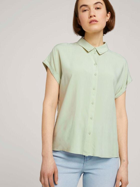 Kurzarmbluse mit LENZING™ ECOVERO™ - Frauen - light dusty green - 5 - TOM TAILOR Denim