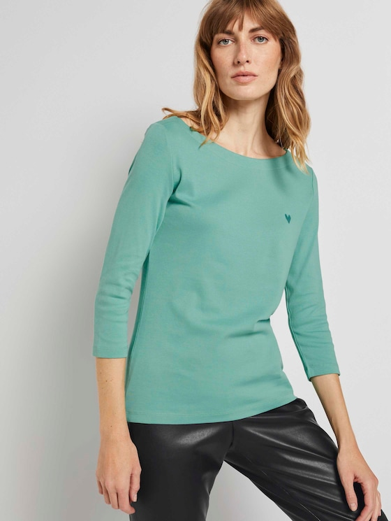 3/4 Arm Shirt mit U-Boot-Ausschnitt - Frauen - soft leaf green - 5 - TOM TAILOR