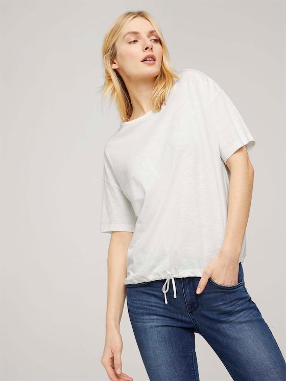 Modal T-shirt met trekkoord - Vrouwen - Whisper White - 5 - TOM TAILOR
