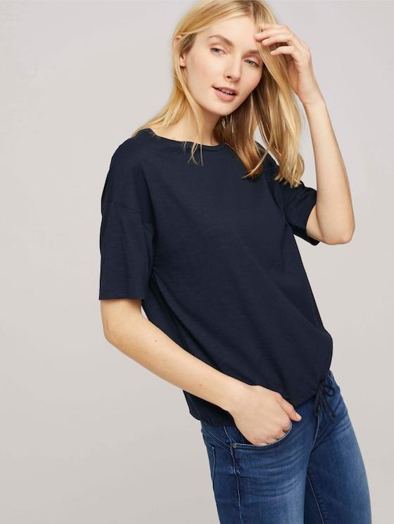 Modal T-Shirt mit Tunnelzug - Frauen - Sky Captain Blue - 5 - TOM TAILOR