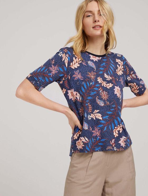 Kurzarm Sweatshirt mit Muster - Frauen - navy floral design - 5 - TOM TAILOR