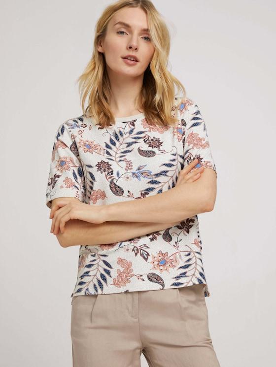 Kurzarm Sweatshirt mit Muster - Frauen - white floral design - 5 - TOM TAILOR