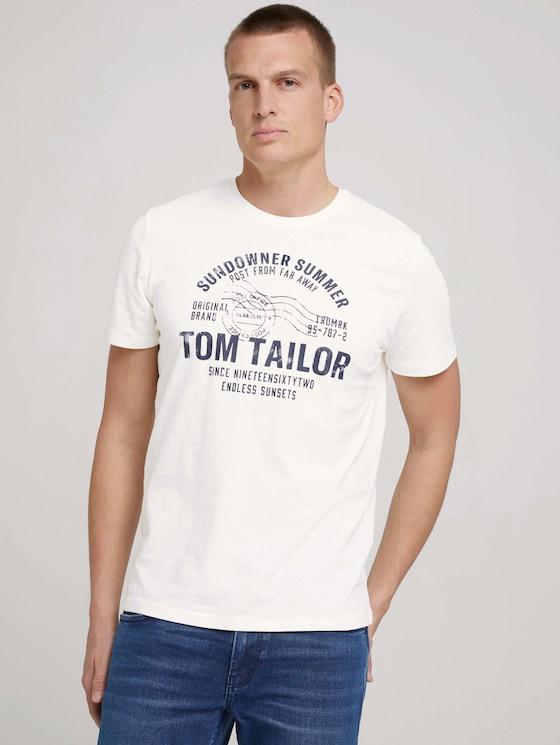 Print T-Shirt - Männer - Off White - 5 - TOM TAILOR