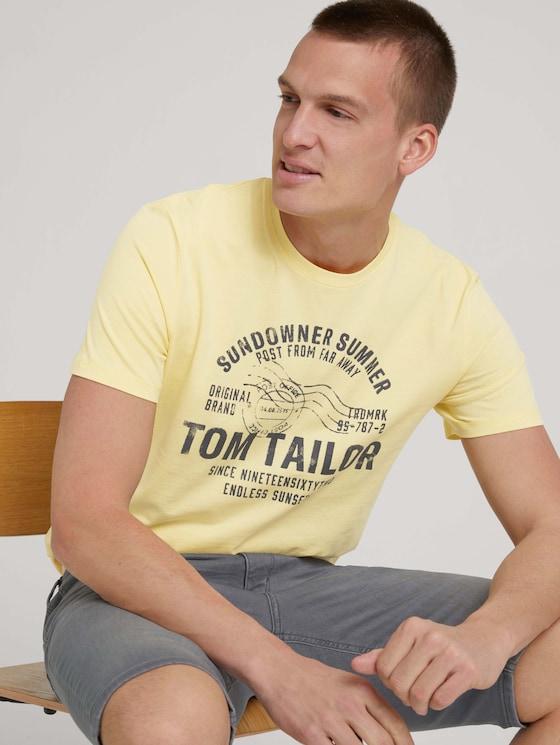 Print T-Shirt - Männer - pale straw yellow - 5 - TOM TAILOR