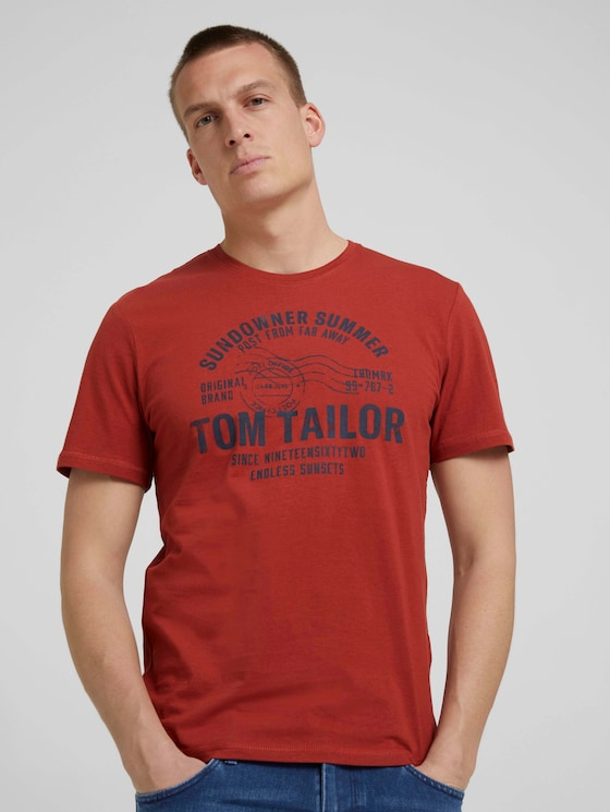 Print T-Shirt - Männer - chili oil red - 5 - TOM TAILOR