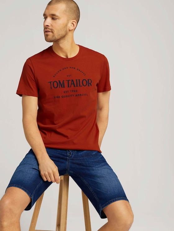 Logo Print T-Shirt mit Bio-Baumwolle - Männer - Ginger Orange - 5 - TOM TAILOR