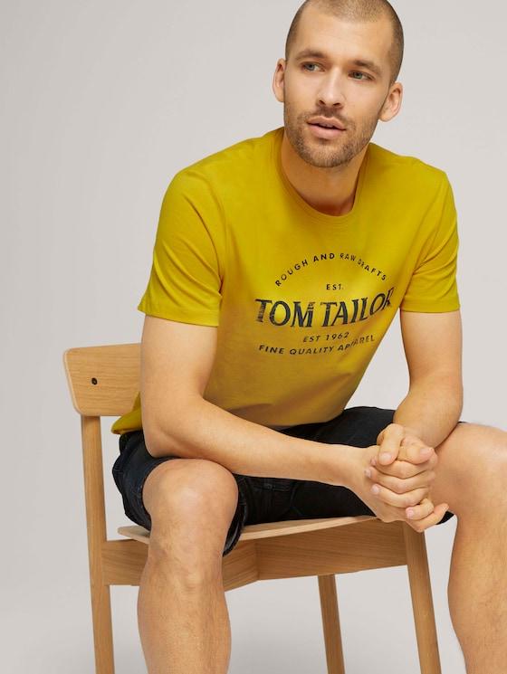 Logo Print T-Shirt mit Bio-Baumwolle - Männer - Californian Yellow - 5 - TOM TAILOR