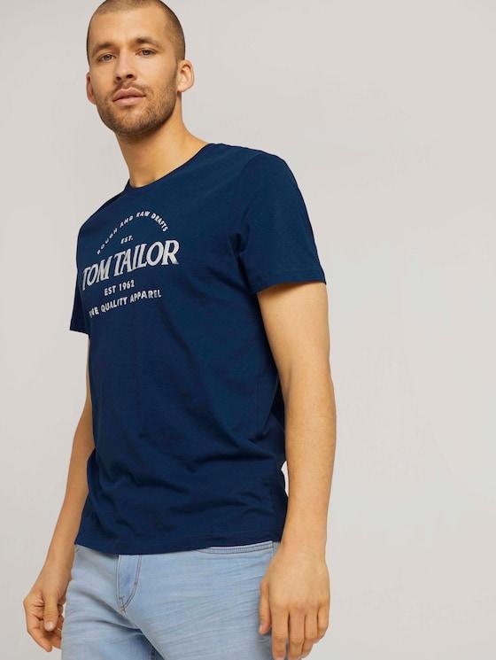T-shirt met logo print en biologisch katoen - Mannen - after dark blue - 5 - TOM TAILOR